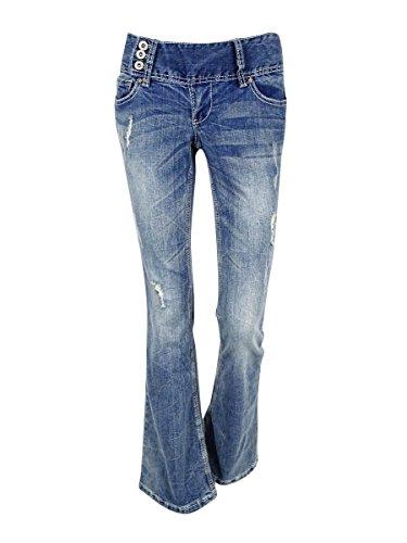 Ariya Jeans Womens Juniors Embroidered High Waist Flare Jeans Blue 3/4