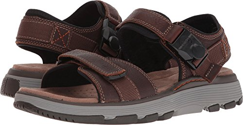 CLARKS Mens Un Trek Part Sandal, Dark Tan Leather, Size 10.5