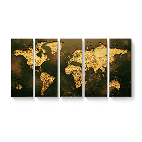 EZON-CH 5 Panel Large Canvas Wall Art Vintage World Map Contemporary Giclee Print Gallery Wrap Modern Home Decor Ready to Hang,16x32 inchx5 ()