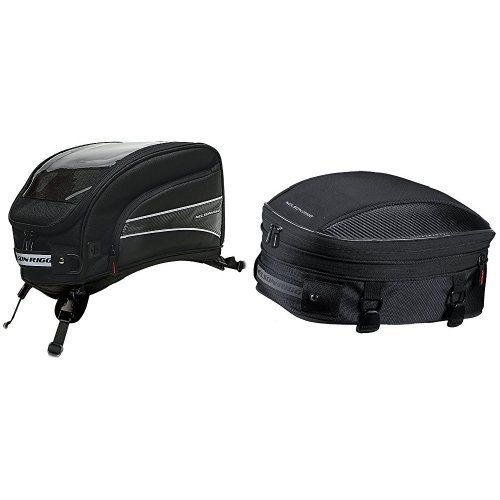 Nelson-Rigg CL-2016-ST Black X-Large Strap Mount Journey Tank Bag and CL-1060-S Black Sport Tail/Seat Pack Bundle