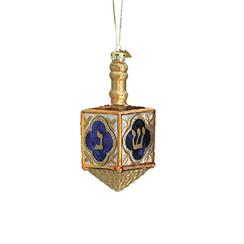Noble Gems Kurt Adler 4-Inch Glass Jewish Dreidel - Dreidel Ornament