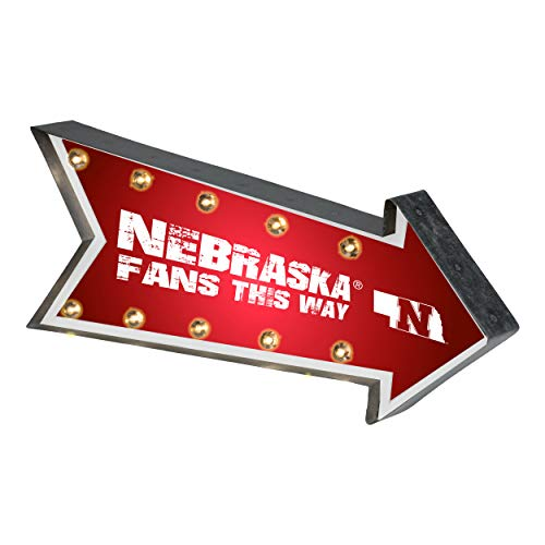 Nebraska Collectibles Cornhuskers - Forever Collectibles NCAA Nebraska Cornhuskers SignLight Up Arrow Marquee Style, Team Colors, One Size
