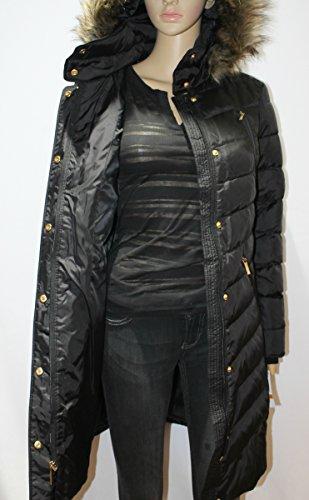 8dcafd9d5770de Amazon.com: MICHAEL Kors Hooded Faux Fur Down Puffer Coat women's black  Knit panels jacket (XXL): Clothing