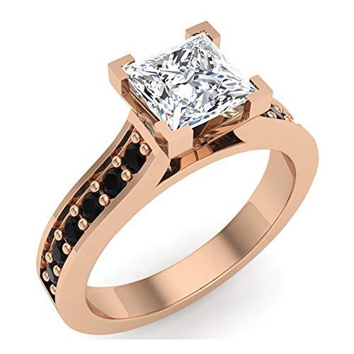 Black & White Princess Cut Diamond Engagement Ring 14K Rose Gold 1.00 ct tw (Ring Size - Tw 1 Ct Diamonds Princess