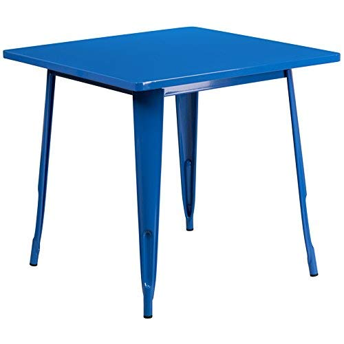 Flash Furniture 31.5'' Square Blue Metal Indoor-Outdoor Table Set with 4 Stack Chairs by Flash Furniture (Image #2)