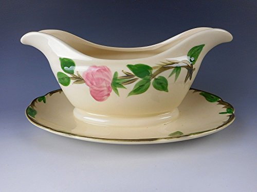 Franciscan Pottery DESERT ROSE Fly F/USA Gravy Boat w/Attached Underplate (Desert Rose Pottery)