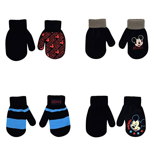 Disney Assorted Designs 4 Pair Gloves or Mittens Cold Weather Set, Little Boys, Age 2-7 ((A) Mickey Mouse 4 Pair Mittens Set Ages 2-4)