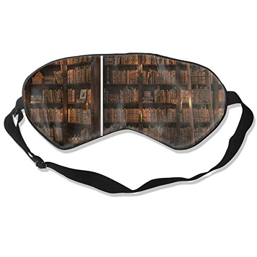 (Sleep Mask Secret Door in The Bookcase Bookshelf Eye Mask Cover with Adjustable Strap Eyepatch for Travel, Nap, Meditation, Blindfold)