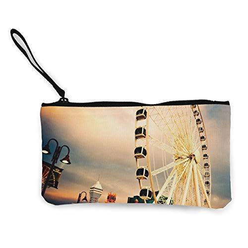Oomato Canvas Coin Purse Ferris Wheel Light Cosmetic Makeup Storage Wallet Clutch Purse Pencil -