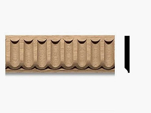 1-1/4''W X 1/4''TH X 8ft, 10pc, 80ft, Maple Wood FLUTED Molding Trim Moulding Corbel Onlay (Maple) by Zakros Design