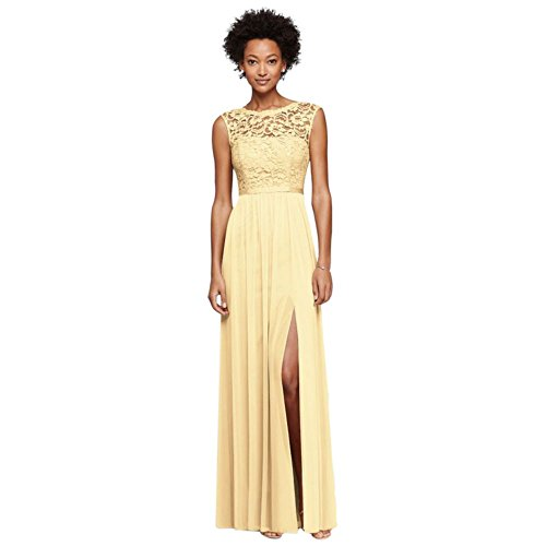 - Long Bridesmaid Dress with Lace Bodice Style F19328, Canary, 6