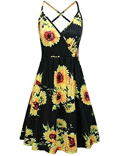 (Tropical Dresses for Women,Pretty Floral Pattern Print Adjustable Strap Casual V Neck Flattering Formal Sundress Swing Pleated Designer Classy Sunflower Plus Size Maternity Comfy Mini Dress Black XL)