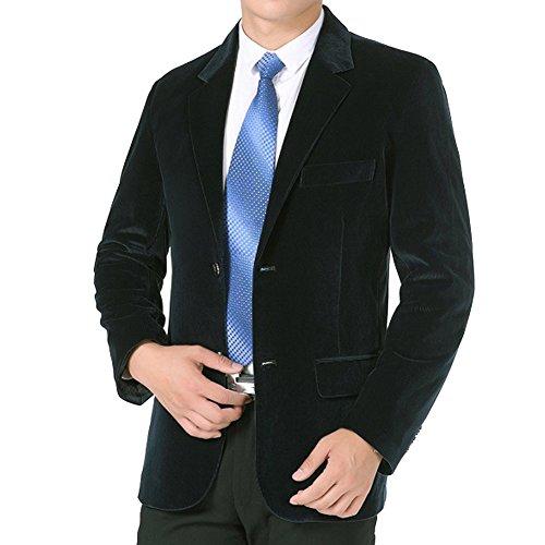 SITENG Men`s Cotton Corduroy Sport Coat Single Breasted Velvet Blazer Jacket Spring & Summer (US XL(Chest 44