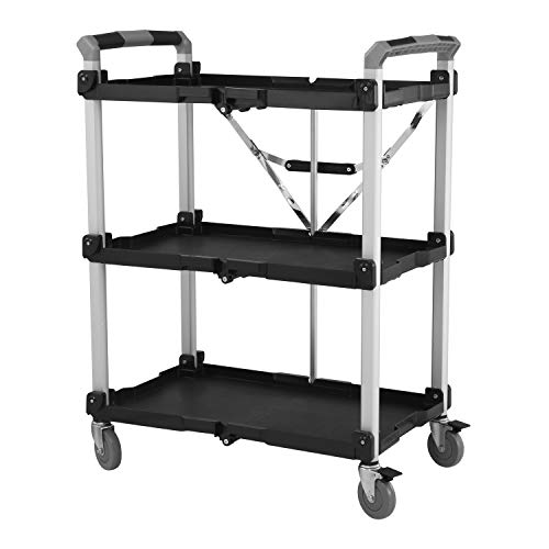 Olympia Tools 85-188 Pack-N-Roll Folding Collapsible Service Cart, Black, 100 Lb. Load Capacity per Shelf