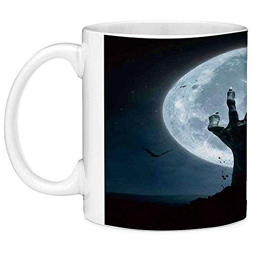 Lead Free Ceramic Coffee Mug Tea Cup White Halloween Decorations 11 Ounces Funny Coffee Mug Zombie Earth Soil Full Moon Bat Horror Story October Twilight Themed Blue Black -