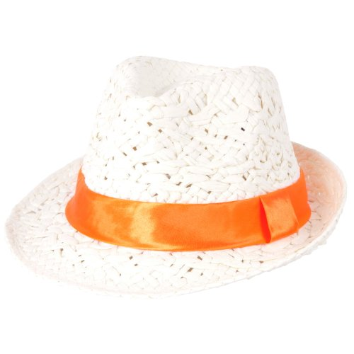 Satin Bow Fedora (D&Y Kids Little Girls White Straw Fedora with Satin Bow Accent)