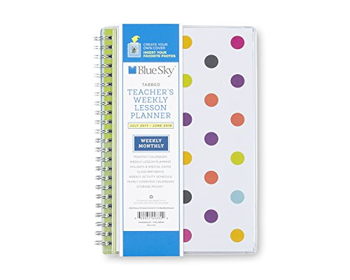 """Blue Sky 2017-2018 Academic Year Teachers Weekly Lesson Planner, Twin-Wire Bound, 5"""" x 8"""", Dots Cover"""