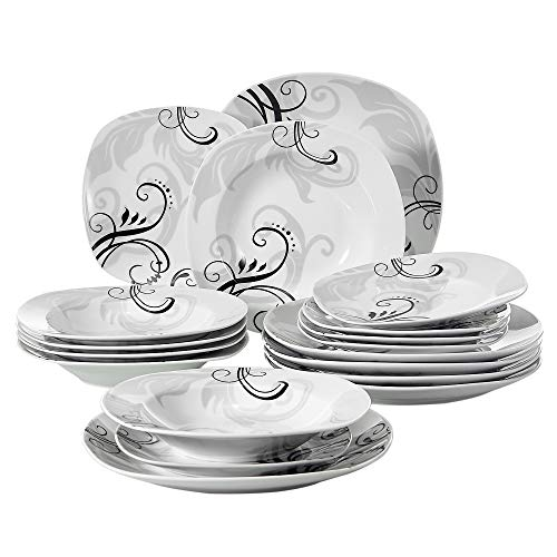VEWEET 18-Piece Porcelain Square Dinnerware Set Decal Patterns Kitchen Plate Sets with Dinner Plate, Soup Plate, Dessert Plate, Service for 6 (Zoey Series)