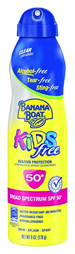 Banana Boat Sunscreen Kids Ultra Mist Tear-Free Sting Free Broad Spectrum Sun Care Sunscreen Spray - SPF 50, 6 (Continuous Sunscreen Mist)