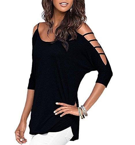 chicu-womens-off-shoulder-shirt-half-sleeve-tunic-top-casual-blouseblackl
