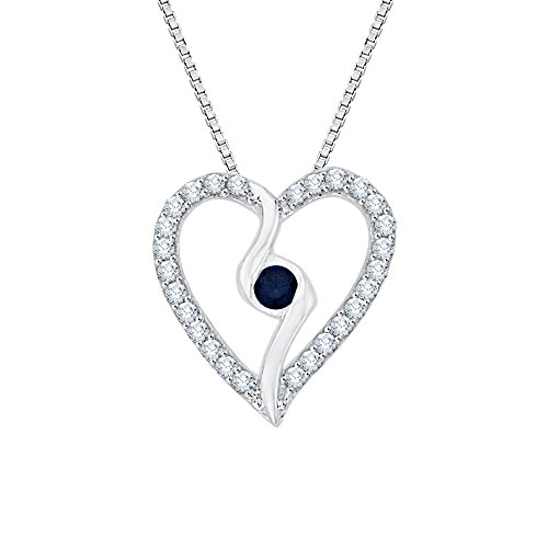 (Center Sapphire and White Diamond Heart Pendant Necklace in 10K White Gold (1/6 cttw) (Color JK, Clarity SI2-I1))