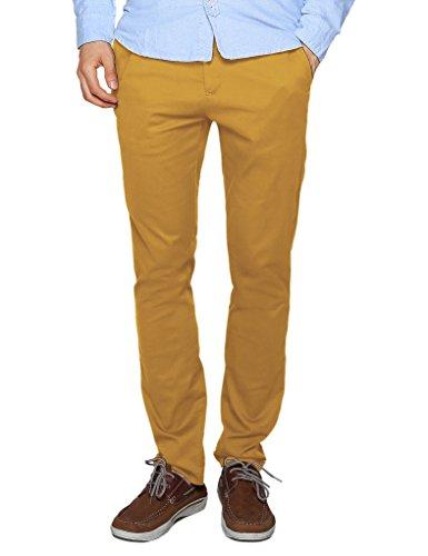 Match Men's Slim Tapered Stretchy Casual Pant (32, 8114 Khaki Yellow) (Yellow Pants Men)