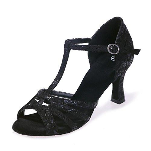 Zapatillas yc Para Finos Altos Negro Seda Marrón Black Correas De L Baile Latino Interiores Tacones Dorado Mujer 5dCXSxdw