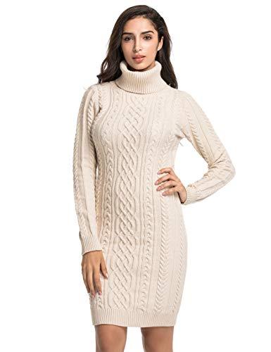 PrettyGuide Women's Knit Sweaters Long Sleeve Turtleneck Stretchy Sweater Dress S Beige
