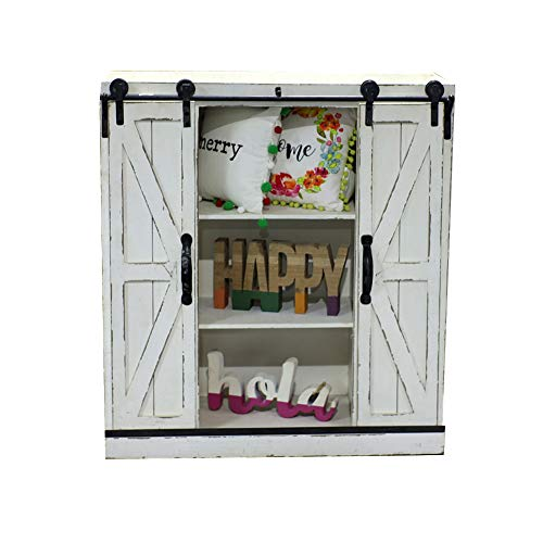 Sliding Barn Door Wall Storage Cabinet Freestanding Console Cabinet Buffet Modern Farmhouse Sideboard Organizer Distressed Furniture Wood Fully Assembled Shabby Chic 29.1 x 12.4 x 31.9 inches White