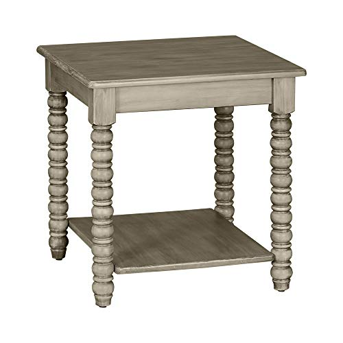 MUSEHOMEINC Roman Mid-Century Wood End Table with Turning Leg Design for Living Room or Bedroom/Nightstand/Side Table, Distressed Grey Finish (Grey Furniture Distressed)