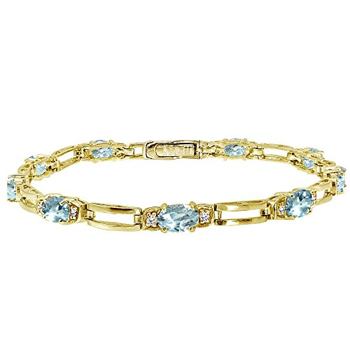 Yellow Gold Flashed Sterling Silver Blue Topaz and Cubic Zirconia Oval & Bar Link Bracelet - Genuine Blue Topaz Link Bracelet