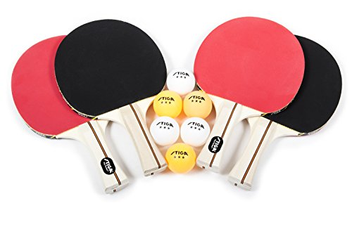STIGA Performance 4-Player Table Tennis Racket Set with Inverted Rubber for Increased Ball Control and Added Spin (Best Table Tennis Paddle Rubber)