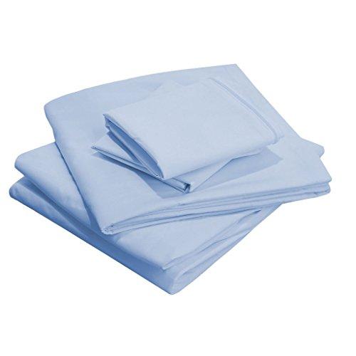 Scalabedding 58,4 cm Poche profonde 100% coton égypcravaten 400 fils Full-xxl Taille solide de lit Bleu ciel