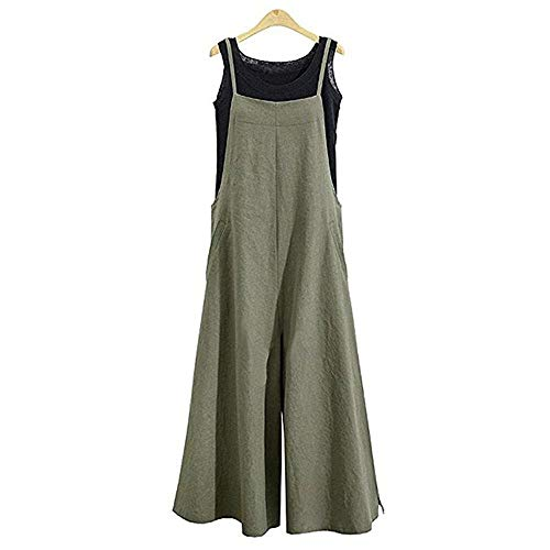 (Women's Casual Jumpsuits Overalls Baggy Bib Pants Plus Size Wide Leg Rompers (Green-1, S))