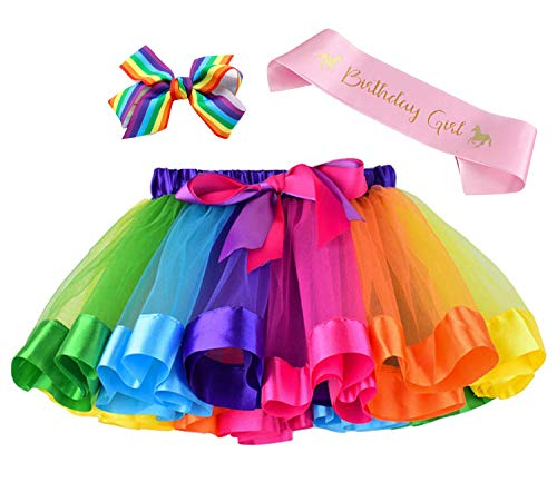 (Layered Rainbow Tutu Skirt Costumes Set with Hair Bows Clips and Satin Sash for Girls Birthday Party Dress)