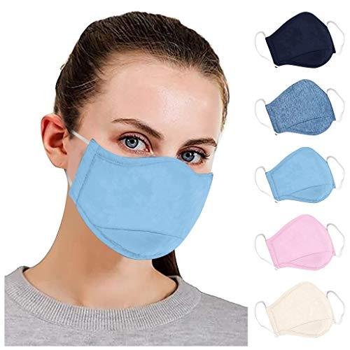 QUYYEI 5 Pack Fashion Face Bandanas, Cloth Face Reusable Washable Cotton Fabric Unisex Cotton Dustproof Mouth Bandanas…