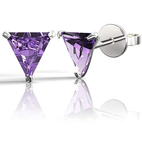 Triangle Amethyst Earrings - .925 Sterling Silver Hypoallergenic Amethyst Cubic Zirconia Triangle Shape Stud Earrings, 5mm