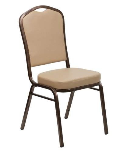 Offex OF-FD-C01-COPPER-TN-VY-GG Hercules Series Crown Back Stacking Banquet Chair with Tan Vinyl and 2.5'' Thick Seat, Copper Vein Frame