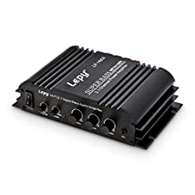 ONEU Power Amplifier, 2 x 45 Watt and 1x68 Watt Mini Audio Amp, Independent Sub Output 2.1 Channel Subwoofer Stereo HiFi Amplifier for Speaker with Adapter
