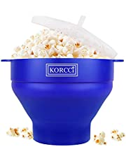 The Original Korcci Microwaveable Silicone Popcorn Popper, BPA Free Microwave Popcorn Popper, Collapsible Microwave Popcorn Maker Bowl, Dishwasher Safe - Various Colors Available (Blue)
