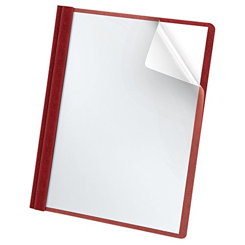 Oxford Premium Clear Front Report Covers, Letter Size, Red, 25 per Pack (58811)