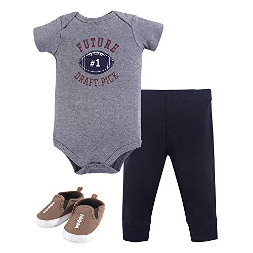 Hudson Baby Unisex Baby Bodysuit, Bottoms and Shoes, Football 3-Piece Set, 6-9 Months -