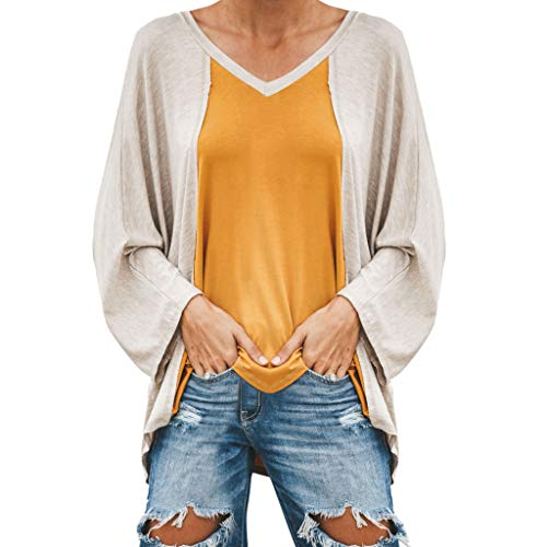 OrchidAmor Womens Casual V-Neck Long Sleeve Patchwork Loose Ladies Tops T-Shirt Blouse Yellow
