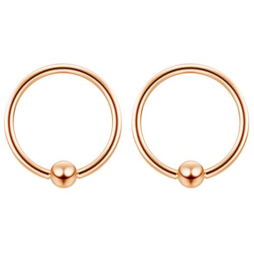 - 2pc Rose Gold 16g Ball Closure Ring Captive Bead Piercing Lip Tragus Septum Cartilage Navel Forward Helix Rook Nose Belly Conch - 10mm