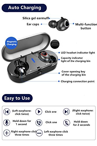 True Wireless Earbuds,JAOXISOU Bluetooth 5.0 Headphones with Charging Case IPX7 Waterproof TWS Stereo Headset in-Ear Built-in Mic Earphones,Premium Sound with Deep Bass for Sport (Black)