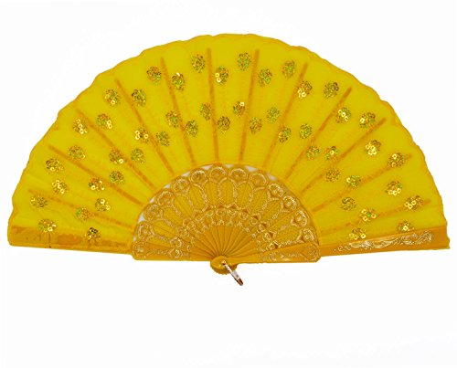 Amajiji Womans Folding Fans ,Handmade Embroidered Flower Peacock Pattern Sequin Fabric Folding Fans (Yellow)