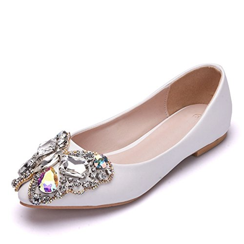 Rhinestones Dress Minitoo on Bow Ladies Wedding Flats Flat Slip Party Satin Ivory Ballet 8wqBEAw