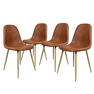 GreenForest Dining Chairs Set of 4, Washable Pu Cushion Seat Chair with Metal Legs for Kitchen Dining Room,Brown - 【Washable Pu dining chairs】- Waterproof Pu cushion seat and back ,ergonomic design is simple and beautiful outlook,anti-dirty material convenient for cleaning, just wipe with a damp cloth. 【Comfortable and sturdy chairs】- Metal tube with wooden transfer legs,seat bottom fixed with sturdy X-shape support,strong bearing strength,backing has a 'little radian',feel more comfortable. 【DIY legs dining chair set of 4】- Paint legs with prefer color by your creativity,the bottom of the chair legs has a plastic pads, a nice soft rubber floor protectors for sensitive flooring. - kitchen-dining-room-furniture, kitchen-dining-room, kitchen-dining-room-chairs - 41Z03bc1KYL. SS400  -