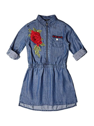 Guess Girls' Big Christine Rose Applique Denim Dress, Light Stone wash on Intense Blue, 7 -