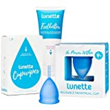 Lunette Reusable Menstrual Cup Starter Kit - Blue Model 1 for Light Flow + Lunette Menstrual Cup Wash and Lunette Wipes - Everything You Need!